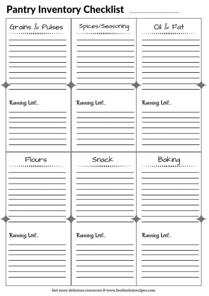 Pantry Inventory Checklist